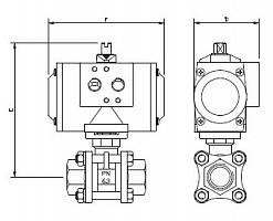 Кран шаровой двухходовой из нержавеющей стали AISI 316 из 3 частей с пневматическим приводом