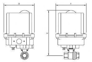 Кран шаровой двухходовой из нержавеющей стали AISI 316 из 2 частей с электроприводом