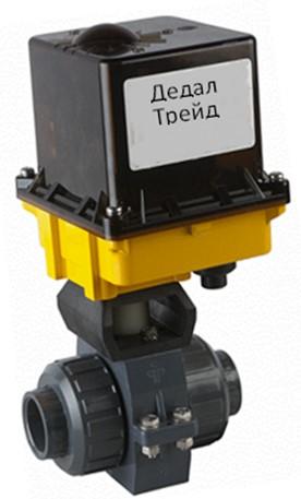 Кран шаровой муфтовый из пвх DN100 PN16 с электроприводом