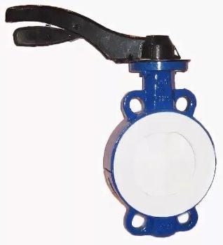 Затвор дисковый для агрессивных сред корпус чугун диск AISI 316 покрытие диска PTFE