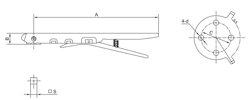 Чертеж рычага и ISO фланца затвора дискового межфланцевого под пнефмопривод
